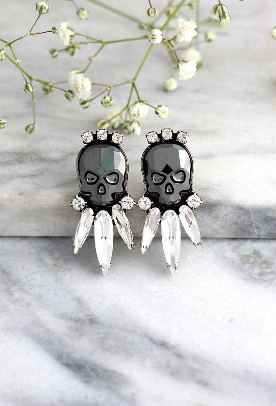 Black Skull Earrings - עגילי גולגולת שחור