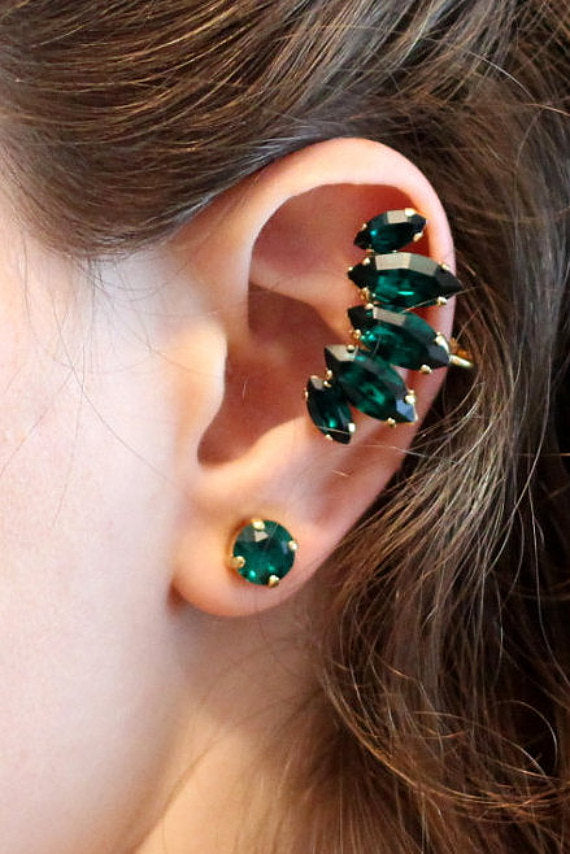 Small Emerald Climber Earrings -  עגיל מטפס אמרלד קטן