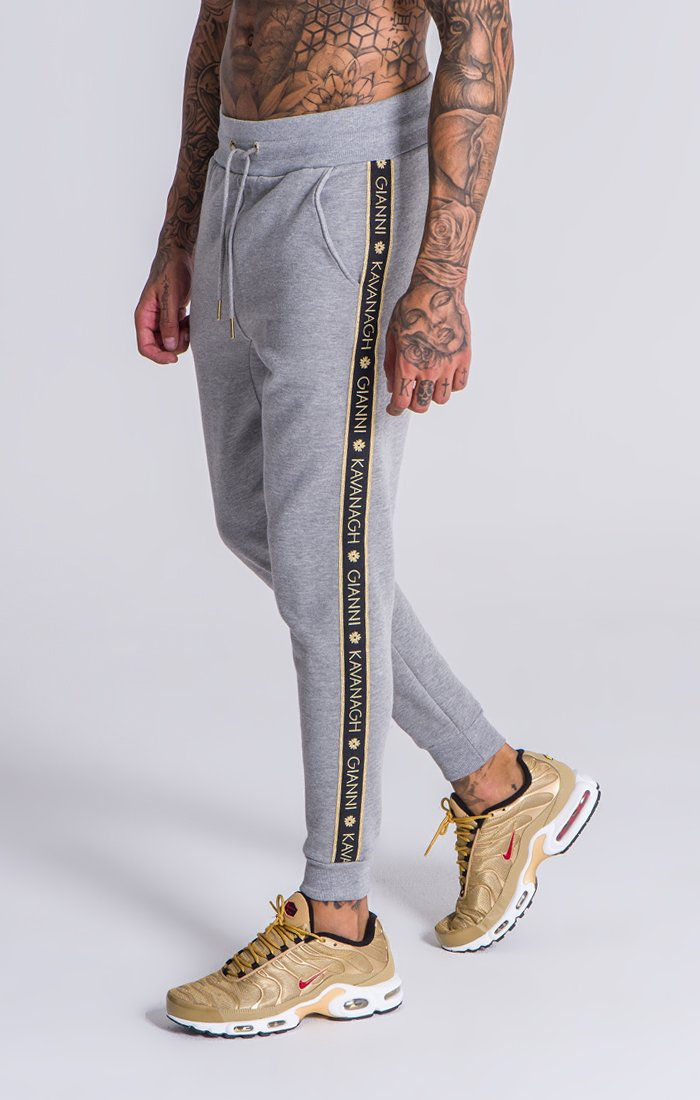 fdbfded94 Grey Fleece Joggers With GK Gold Lurex Elastic   Tracksuits   Gianni ...