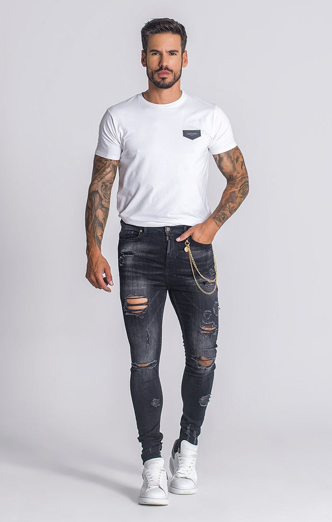 Black Distressed Jeans With Gold Chains Jeans Gianni Kavanagh Men Ub Online Store
