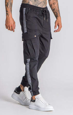 Black Off Limits Tape Cargo Pants