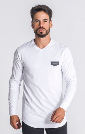"White Core ""V"" Neck Long Sleeve Tee"