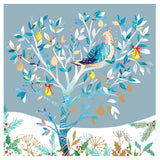 """Partridge in Pear Tree & Gold Tree with Robins"" LOROS Twin Pack Christmas Card"