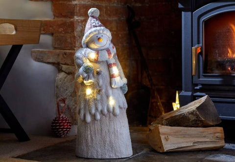 Frosty Snowman Hand Painted Figurine Warm White LEDs Autotimer Christmas Decor