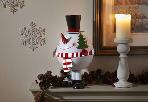 Wibbly Wobbly XL Snowman Metal Christmas Ornament Christmas Decoration 35cm tall