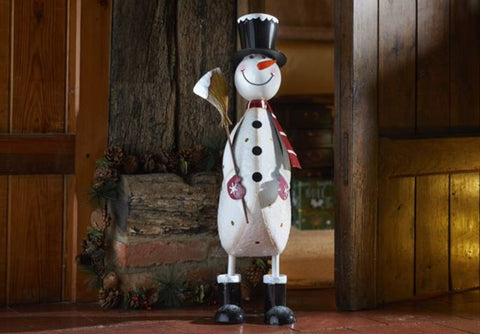 Polka Frosty XL Christmas Decoration Hand painted Metal Snowman 60 cm tall
