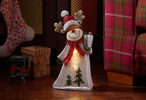 Alpine Rudolph Hand Painted Figurine Warm White LEDs Autotimer Christmas Decor