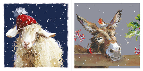 """Red Hat Sheep & Donkey with Robin"" LOROS Twin Pack Christmas Card"