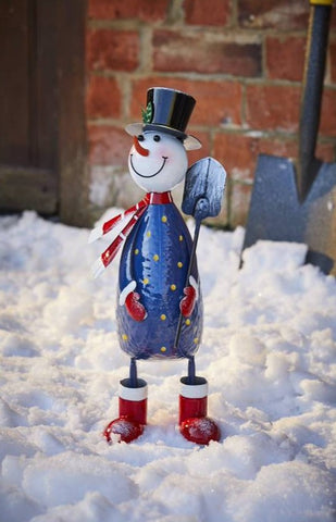 Polka Frosty Christmas Decoration Hand painted Metal Snowman 43 cm tall