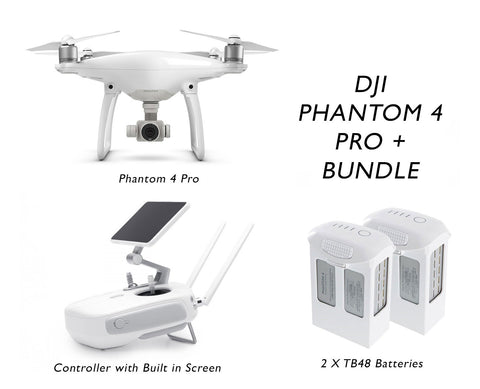 Phantom 4 Pro + Obsidian ( Includes Built in Screen) Bundle - 2 Extra Batteries - GoUAV
