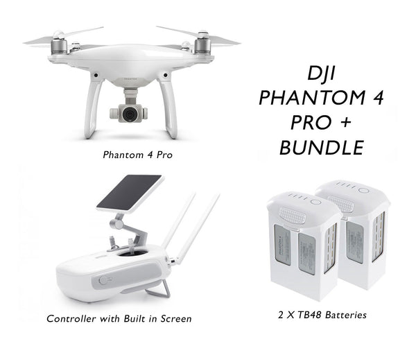 Phantom 4 Pro + ( Includes Built in Screen) Bundle - 2 Extra Batteries & including FLIR ONE Smartphone Thermal camera and FLIR FX camera - GoUAV