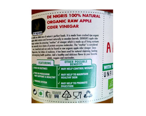 DE NIGRIS Organic Apple Cider Vinegar - The Diabetic shop
