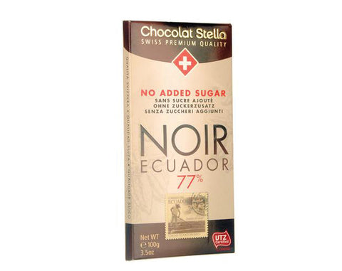 STELLA NO SUGAR ADDED CHOCOLATE Ecuador 77% Cocoa Extra Dark Chocolate - The Diabetic shop