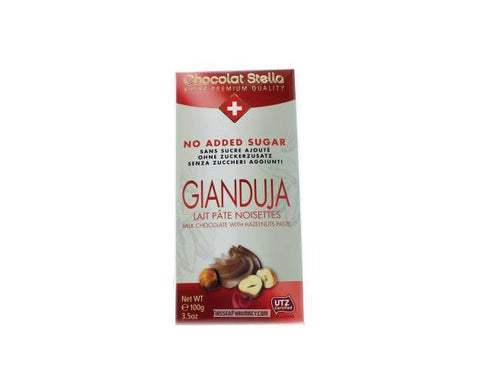 STELLA NO SUGAR ADDED CHOCOLATE Gianduja Hazelnuts Paste Chocolate - The Diabetic shop