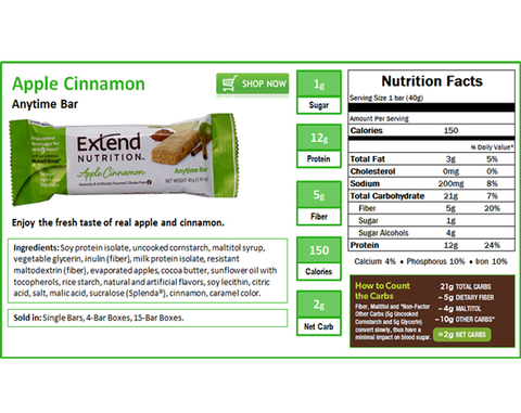 Extend Anytime Bars Apple Cinnamon - The Diabetic shop