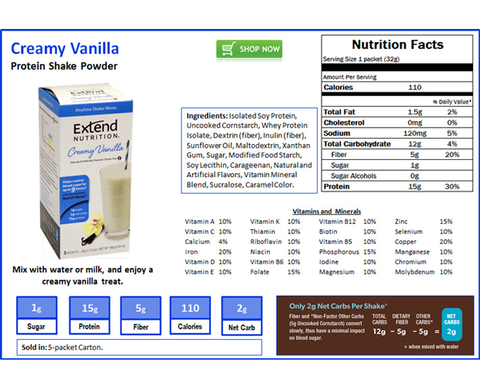 Extendshake Vanilla (5 Pk) - The Diabetic shop