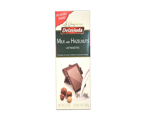 Delaviuda Bar - Sugar Free Milk Chocolate with Hazelnuts - The Diabetic shop
