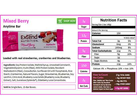 Extend Anytime Bars Mixed Berry - The Diabetic shop