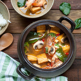 Prawn and fish tofu tom yum soup