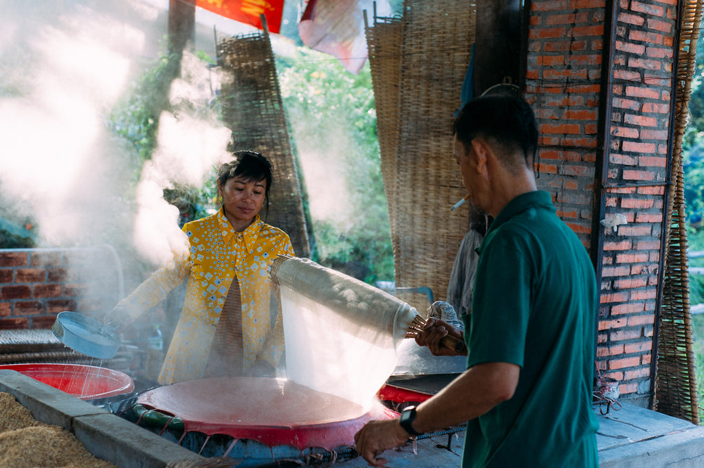 making hu tieu noodle in Mekong Delta