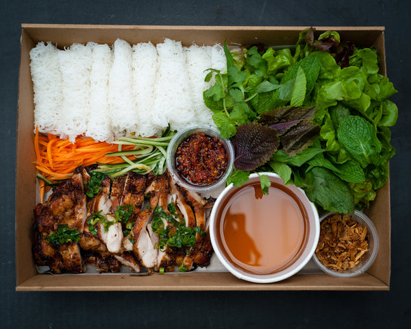 Grilled chicken Banh hoi platter (GF)