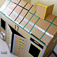 stay home activity making cardboard houses