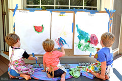 Stay home activity in Singapore painting with children