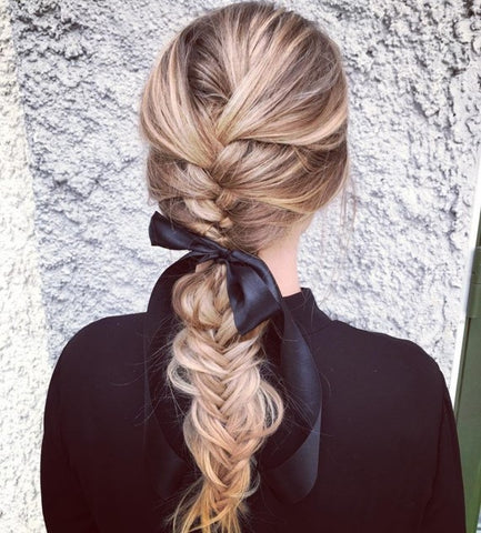 Fishtail braid with a ponytail