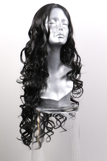 Natural Black Synthetic Wig: