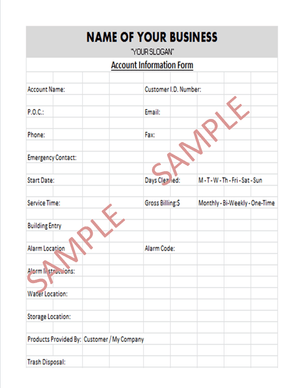 Cleaning Business Tools - Standard Cleaning Business Forms Package