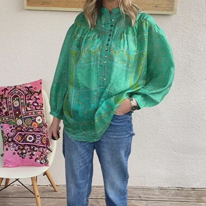 Load and play video in Gallery viewer, recycled silk sari blouse
