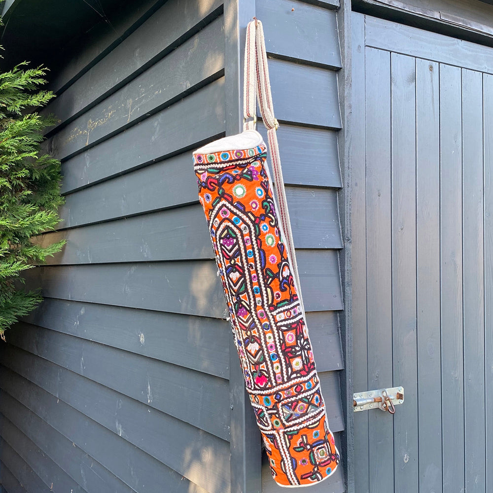 vintage afghan mirror yoga mat carrier recycled