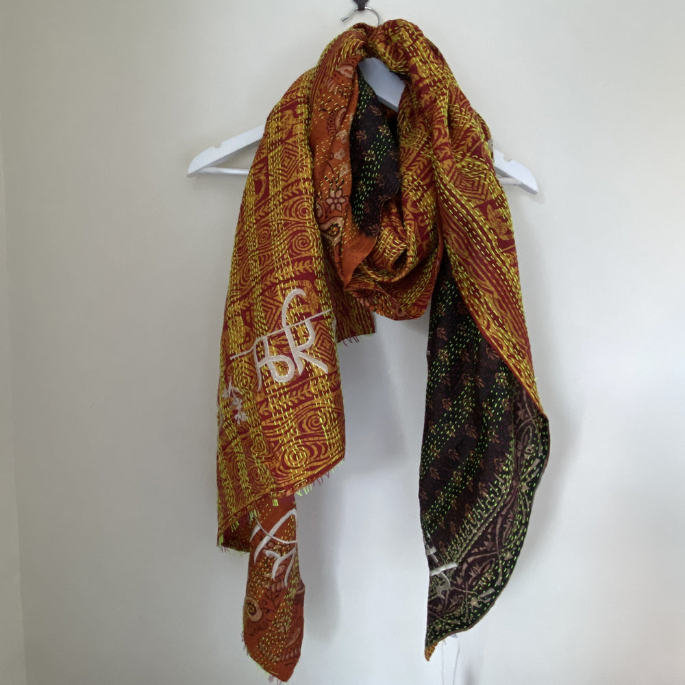 FIONA EMBROIDERED 'Peace & Love' KANTHA SCARF