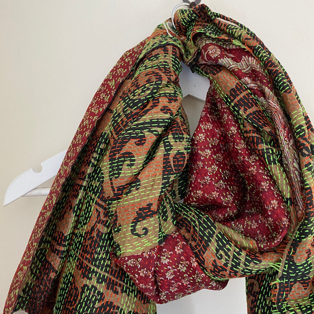 embroidered kantha scarf peace love