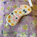 HAND-PRINTED SILK EYE MASK IN STAR PRINT