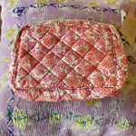 HAND-PRINTED SILK MAKE-UP BAG IN PINK FLORAL