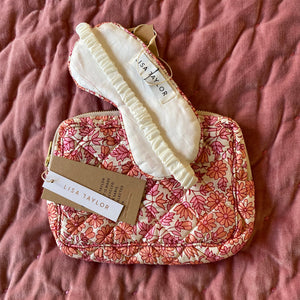 HAND-PRINTED SILK MAKE-UP BAG AND EYE MASK IN PINK FLORAL