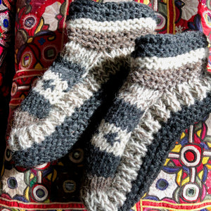 THEA HAND KNITTED WOOL SLIPPERS