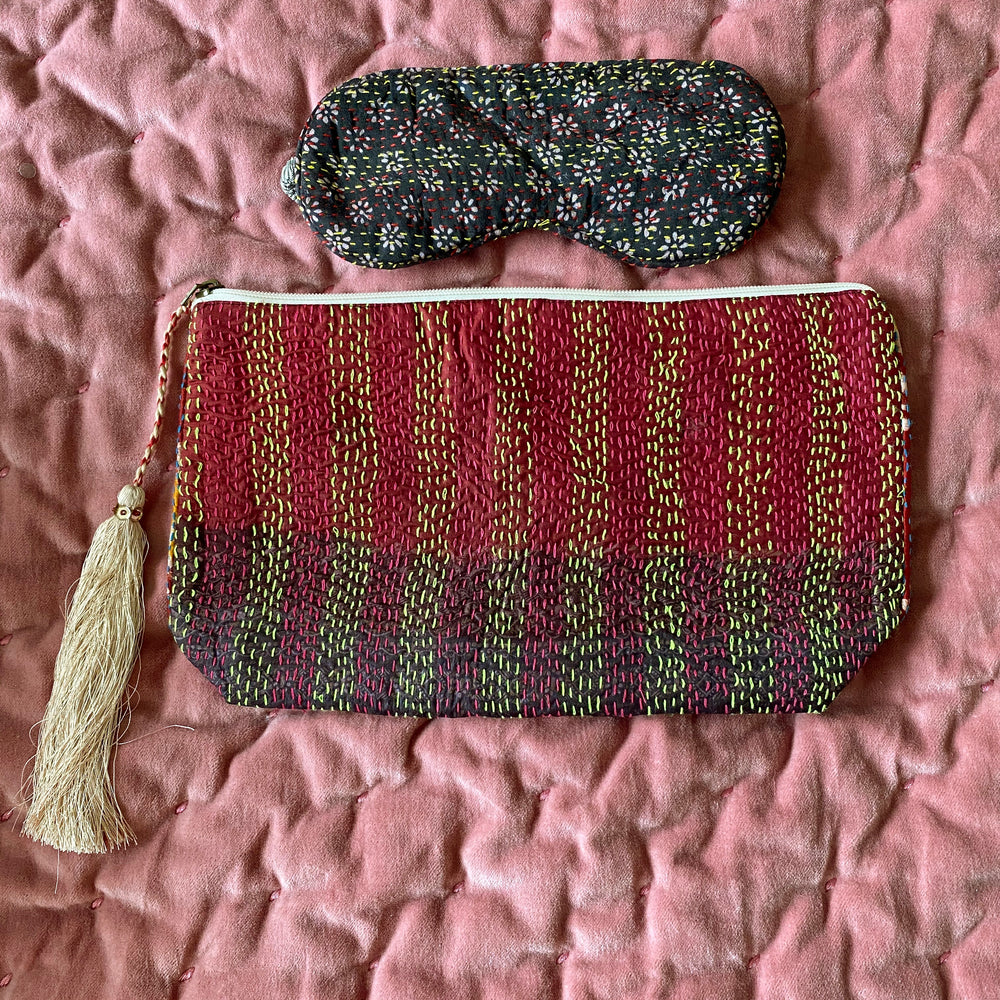 RECYCLED KANTHA TRAVEL BAG AND EYE MASK (11)