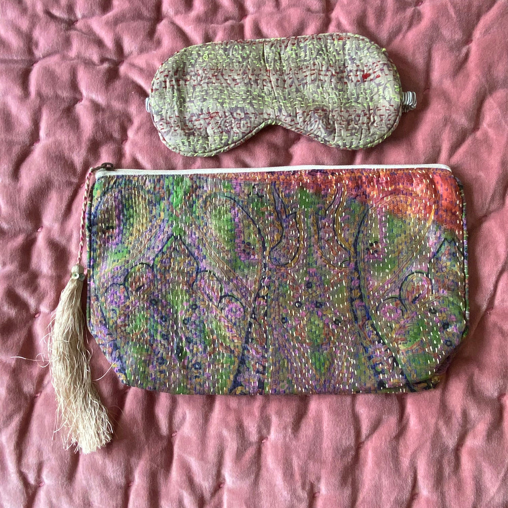 RECYCLED KANTHA TRAVEL BAG AND EYE MASK (1)
