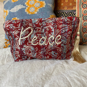 recycled kantha travel bag embroidered peace