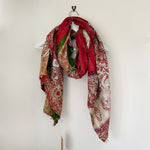 KARA CHERRY BLOSSOM EMBROIDERED AND EMBELLISHED KANTHA SCARF