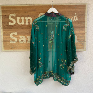 Embellished sheer kimono recycled ethically made