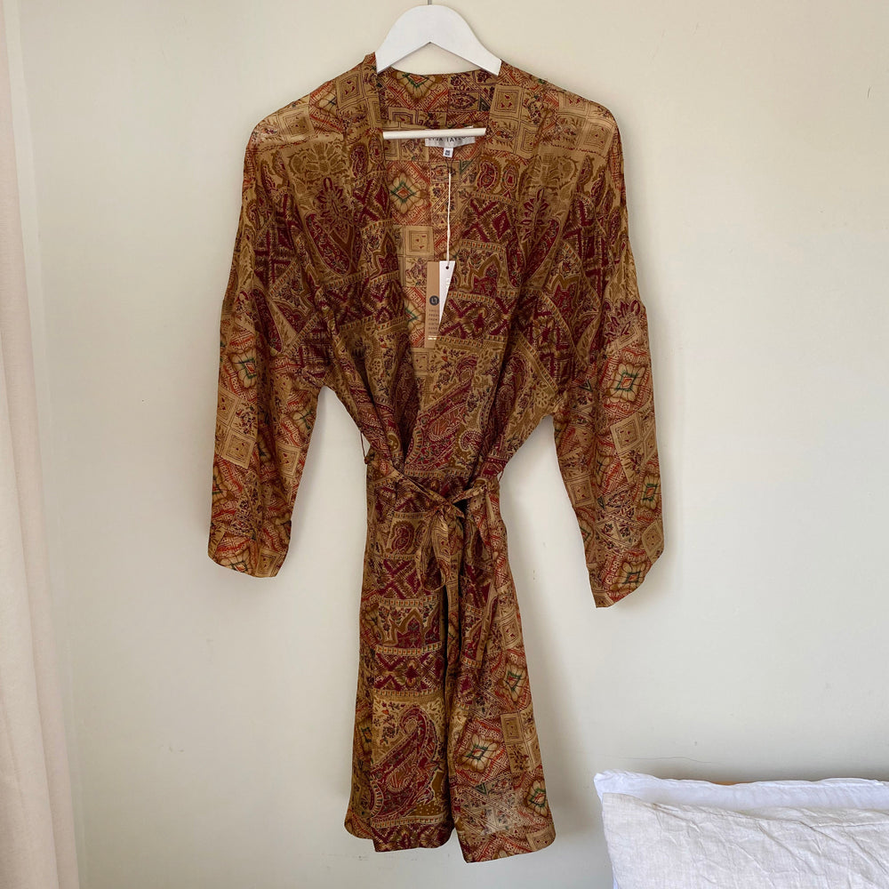 LEAH RECYCLED SILK KIMONO DRESSING GOWN