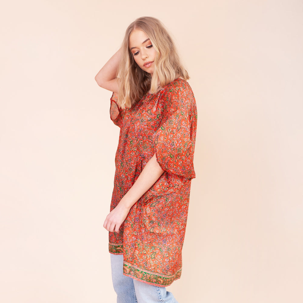 LETTIE ROXY RECYCLED SILK LONGLINE TUNIC