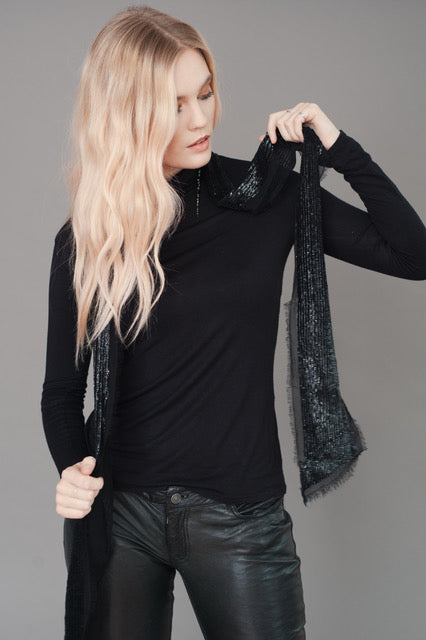 BLACK HAND EMBELLISHED SEQUIN SCARF