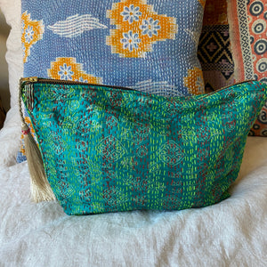 kantha travel bag embroidered love