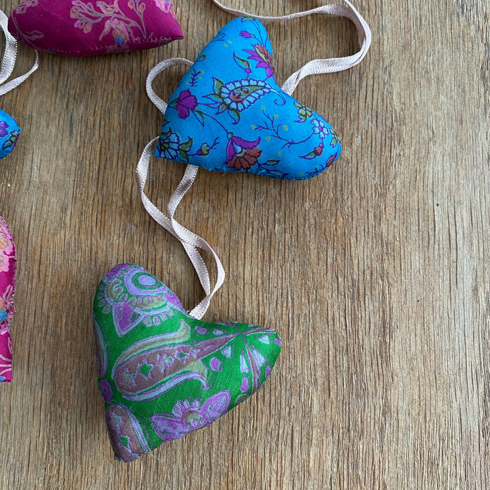 recycled sari christmas decorations hearts