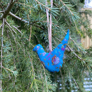 recycled sari christmas decorations birds