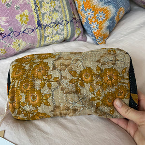 recycled kantha cotton makeup bag